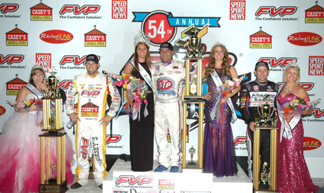 Donny Schatz (center), Brian Brown (left) and Kerry Madsen (right) were the top three finishers in Saturday's Knoxville Nationals. (Mark Funderburk Photo)