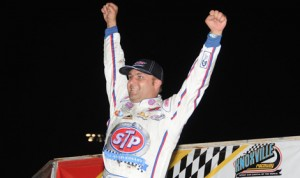 Donny Schatz celebrates after winning his eighth FVP Knoxville Nationals Saturday at Knoxville Raceway. (Frank Smith Photo)