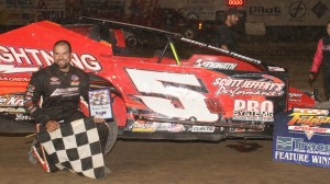 Chris Hile had reason to celebrate on Saturday at Fulton Speedway. (FS photo)
