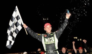 Justin Bonsignore celebrates after his NASCAR Whelen Modified Tour victory Thursday night at Thompson (Conn.) Speedway Motorsports Park. (NASCAR Photo)