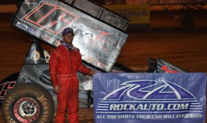 Anthony Nicholson in victory lane after his victory in Saturday's United Sprint Car Series race at Duck River Raceway Park. (Chris Seelman Photo)