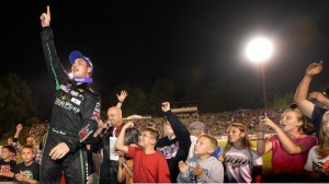 Danny Bohn celebrates the win in the Strutmasters.com 199 at Bowman Gray Stadium in Winston-Salem, N.C. It is his second career NASCAR Whelen Southern Modified Tour win. (NASCAR photo)