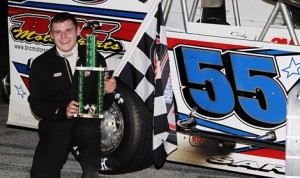 Cody Sargen was all smiles after earning the first NASCAR Whelen All-American Series Bond Auto Parts Modified victory of his career at Devil's Bowl Speedway Friday night. (MemorEvents Photo)