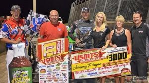 Jeremy Payne scored the win on Saturday at Salinas Highbanks Speedway. (USMTS photo)