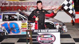 Chad Finchum of Knoxville, Tenn., captured his seventh and eighth NASCAR Whelen All-American Series Late Model Stock feature wins in 2014 at Kingsport Speedway Friday night, making it a clean sweep with the track having twin 35-lap events. (Randall Perry photo)