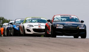 Dean Copeland led a tight lead battle to the finish line to take the round nine of the SCCA Pro Racing Mazda MX-5 Cup at Road America Saturday. (Al Merion Padron Photo)