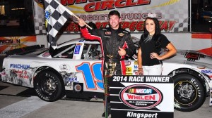 Chad Finchum of Knoxville, Tenn., captured his fourth NASCAR Whelen All-American Series Late Model Stock feature win in 2014 at Kingsport Speedway Friday night. (Randall Perry photo)