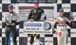 Spencer Pigot (center) held off Scott Hargrove (left) and Chris Green to win Sunday's Ultra 94 Porsche GT3 Cup Challenge Canada by Michelin event during the Grand Prix of Trois-Rivières. (IMSA Photo)