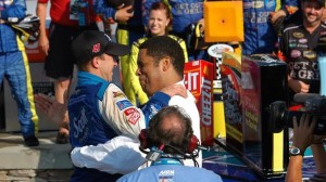 A.J. Allmendinger was thrilled about his first Sprint Cup win Sunday, but car owner Brad Daugherty (right) could barely contain his excitement. (Dennis Bicksler photo)