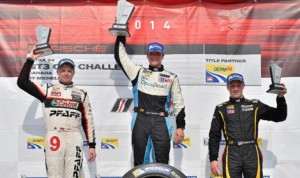Scott Hargrove (center) bested Chris Green (left) and Spencer Pigot (right) to claim Saturday's  Ultra 94 Porsche GT3 Cup Challenge Canada by Michelin event at Canadian Tire Motorsports Park. (IMSA Photo)