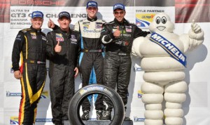 (From left) Chuck Harris, Tim Sanderson, Scott Hargrove and Marco Cirone clinched Ultra 94 Porsche GT3 Cup Challenge Canada by Michelin class championships Sunday at Canadian Tire Motorsports Park. (IMSA Photo)