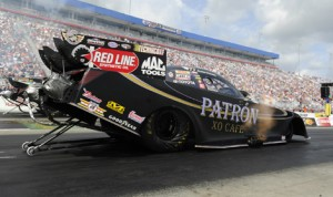 Alexis DeJoria put her Patron Funny Car at the top of the charts during qualifying Saturday afternoon at zMAX Dragway. (NHRA Photo)