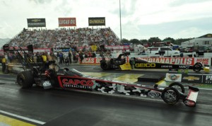 Richie Crampton (far lane) beat Steve Torrence to win the NHRA Top Fuel division during the Chevrolet Performance U.S. Nationals in 2014. Now the event will be worth even more points to NHRA competitors. (Ginny Heithaus Photo)