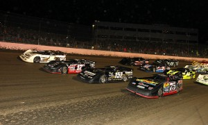 The field for the World 100 prepares to go racing Saturday night at Eldora Speedway. (Mike Ruefer Photo)
