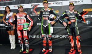 Loris Baz (center) will start from the pole for Sunday's pair of World Superbike races at Circuito de Jerez. (World Superbike Photo)