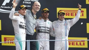 Mercedes' Lewis Hamilton (middle) claimed his sixth win of 2014 on Sunday at Monza after passing teammate Nico Rosberg (far left) for the lead. Felipe Massa (right) finished third for Williams. (Steve Etherington Photo)