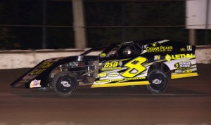 Kyle Strickler on his way to a $5,000 victory Saturday night at Plymouth Speedway. (Gary Gasper Photo)