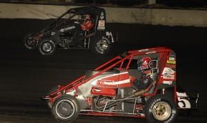 Christopher Bell (71) battles Zach Daum Friday night at Lincoln Speedway. (Mark Funderburk photo)