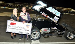 JoJo Helberg drove to victory in Sunday's King of the Wing Sprint Car Series event at Kern County Raceway Park in Bakersfield, Calif. (Paul Trevino Photo)