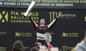 Peter Solberg celebrates his victory in Sunday's FIA World Rallycross finale in Argentina. (World Rallycross Photo)