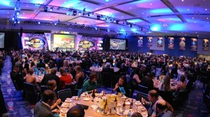Seven NASCAR touring series champions were honored in the Crown Ballroom at the Charlotte (N.C.) Convention Center on Saturday. (NASCAR photo)
