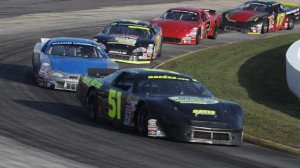 Matt McCall (51) led Lee Pulliam in the late stages of the 2011 MDCU300 at Martinsville Speedway. (Martinsville photo)