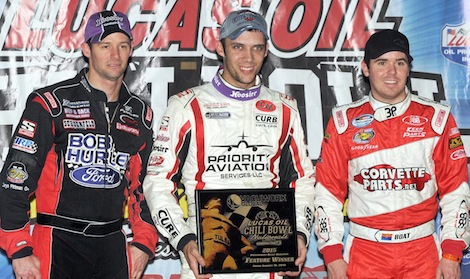 Bryan Clauson (center) shared the podium with Daryn Pittman (left) and Chad Boat Friday night at the Chili Bowl. (Frank Smith photo)