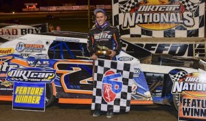 Nick Hoffman in victory lane Saturday at Volusia Speedway Park. (Chris Seelman photo)