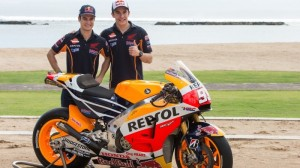Marc Marquez and Dani Pedrosa enjoyed the new-look Repsol Honda they'll race in MotoGP this year. (Repsol Honda photo)