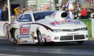 Greg Anderson ended a long dry spell recently in NHRA Pro Stock competition and hopes to win again this weekend at zMAX Dragway. (NHRA Photo)