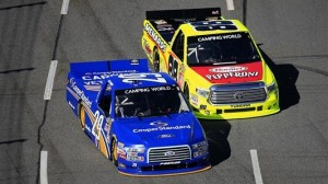 Joey Logano (29) held off Matt Crafton to win Saturday's NASCAR Camping World Truck Series Kroger 250 at Martinsville (Va.) Speedway. (NASCAR photo)