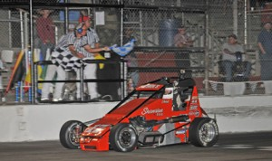 Chad Nichols claimed the BCRA Midget Series opener on Saturday at Madera Speedway. (M&M Photos)