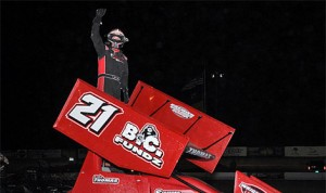 Tyler Thomas celebrates after winning Saturday's Border International Trucks 305 Sprint Car Shootout at Southern New Mexico Speedway. (Lonnie Wheatley Photo)
