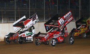 Cody Darrah (89) fights Brent Marks during All Star competition at Port Royal Speedway. (Dan DeMarco Photo)