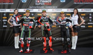 Tom Sykes (center) earned the Tissot-Superpole at TT Circuit Assen on Saturday. (WorldSBK Photo)