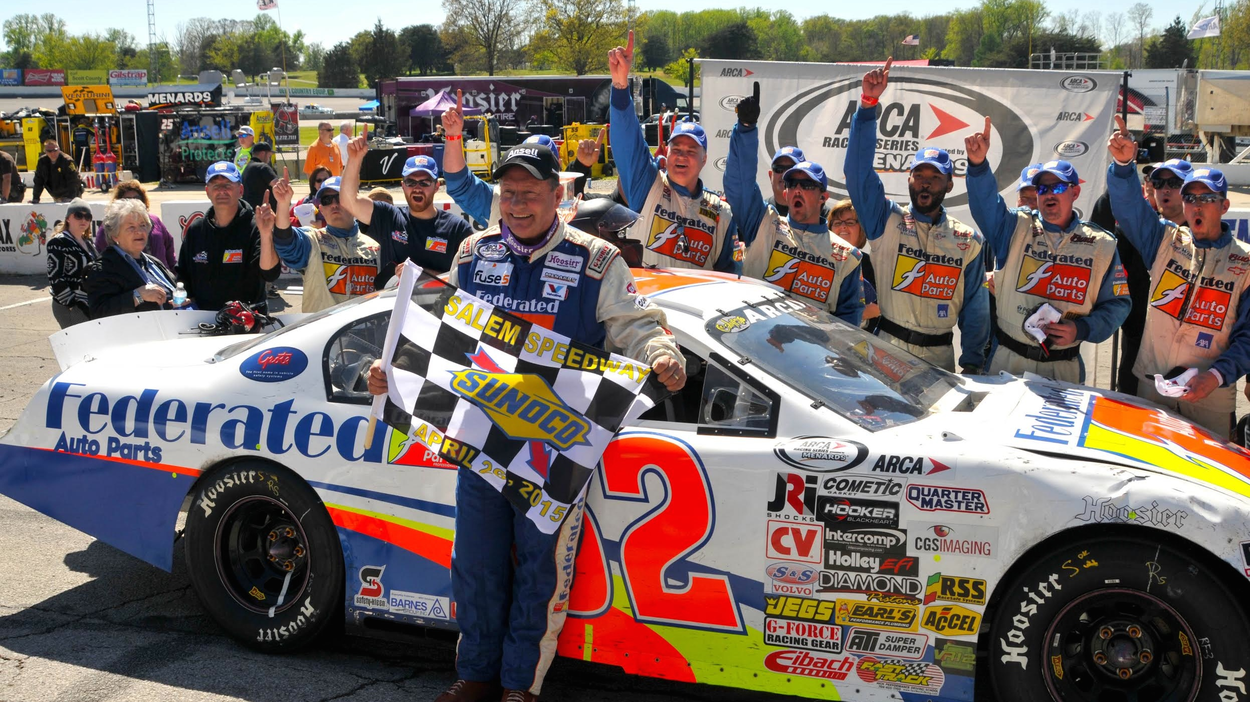 Ken Schrader, Center, Broke His Own Record For Being The Oldest ARCA Racing  Series Winner Ever On Sunday. (Kent Steele Photo)