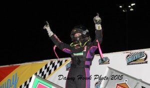 McKenna Haase became the first female sprint car winner in Knoxville Raceway history Saturday night. (Danny Howk photo)