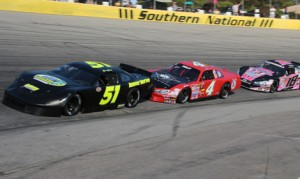 Matt McCall (51) leads Jonathan Findley during Sunday's late model event at Southern National Motorsports Park. (Alicia Hackett/FrameWorks Photography Photo)