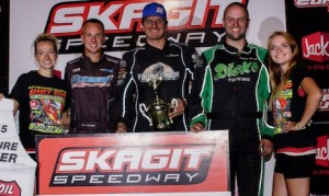 Jason Solwold (center) shared the podium Thursday at Skagit Speedway with Colton Heath and Taylor Malsam. (ASCS/Lisa Dynes photo)