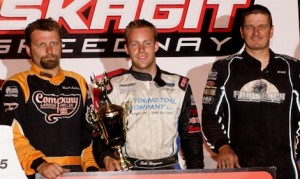 Seth Bergman (center) is joined on the podium by Jason Solwold and Brock Lemley. (ASCS/Lisa Dynes photo)
