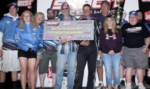 Jason Solwold and crew celebrate after winning the Jim Raper Dirt Cup last year at Skagit Speedway. (ASCS/Lisa Dynes photo)