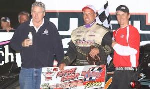 Jason Rauen (center) won Tuesday's Deery Summer Series late model feature. (Bruce Badgely photo)