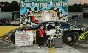 Andrew Grady swept a pair of late model events on Saturday at Southern National Motorsports Park. (Alicia Hackett Photo)