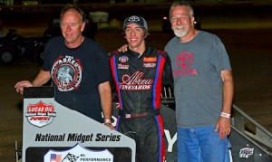 Tanner Thorson (center), team owner Keith Kunz (right) and crew chief Pete Willoughby Thursday night at Quincy Raceway. (Randy Brown photo)