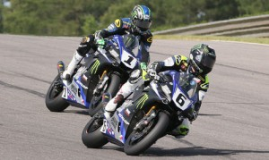 Cameron Beaubier (6) and his teammate Josh Hayes (1) split wins in Sunday's two MotoAmerica Superbike races at Barber Motorsports Park. (Brian J. Nelson Photo)