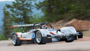 Rhys Millen became the first driver to win the Broadmoor Pikes Peak Int'l Hill Climb with an electric car. (Drive eO photo)