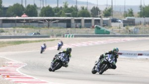 Josh Hayes (1) beat his teammate Cameron Beaubier (6) in both races to sweep the MotoAmerica Superbike doubleheader at Miller Motorsports Park on Sunday. (Brian J. Nelson photo)