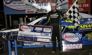 Tyler Nicely in victory lane Saturday at Fairbury American Legion Speedway. (Jim Denhamer photo)
