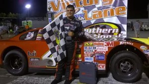 Jonathan Findley celebrates in victory lane after scoring his first career Late Model victory. (Andy Marquis/Southern National Motorsports Park)