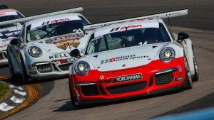 Elliott Skeer, front, and Jesse Lazare, second, have been locked in a fierce fight for the Platinum Cup championship all season. (IMSA photo)